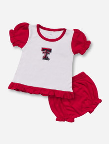 Texas Tech Double T White and Red INFANT Bloomer Set