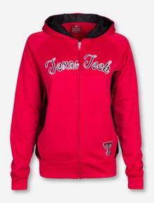 Arena Texas Tech Script with Tonal Textured Fabric Accents on Women's Red Full Zip Hooded Sweatshirt