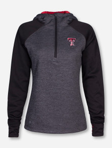 Arena Texas Tech Charcoal and Black Women's Quarter Zip Pullover