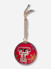 Kitty Keller Double T on Multicolor Snowflake Pattern Cloisonne Ornament - Texas Tech