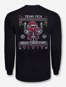 Texas Tech Christmas Stitched Raider Red Black Long Sleeve Shirt