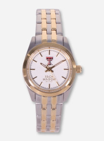 Jack Mason Texas Tech Double T Women's Silver and Gold Watch