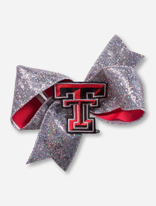 Texas Tech Double T Silver Sequin Ribbon Bow