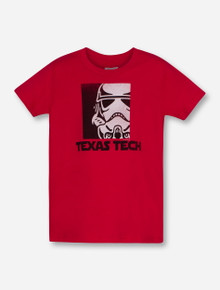 Texas Tech Storm Trooper Helmet on YOUTH Red T-Shirt
