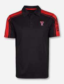 Chiliwear Texas Tech Double T with Red Accents on Black Polo