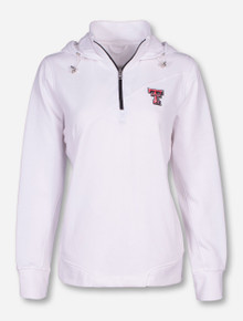 "Texas Tech ""Madison"" Double T on Women's White Quarter Zip Pullover"