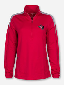 "Antigua Texas Tech ""Succeed"" Lone Star Pride on Women's Red Quarter Zip Pullover"