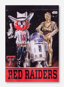 Texas Tech Raider Red with R2D2 and C3PO Vertical Flag