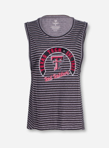 Arena Texas Tech Stay In Your Lane Grey and Black Striped Tank Top