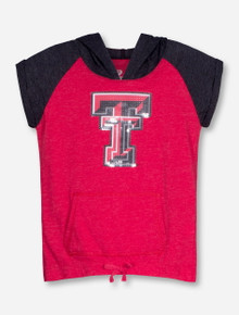 Arena Texas Tech Double T Sequin YOUTH Red and Charcoal Short Sleeve Hoodie