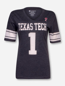 Arena Texas Tech #1 Charcoal V Neck T-Shirt