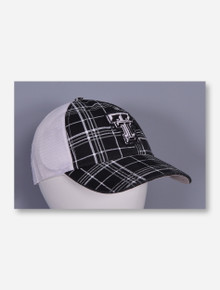 47 Brand Black Plaid on White Mesh Snapback Cap