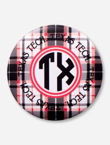 Texas Tech Plaid Monogram Gameday Button