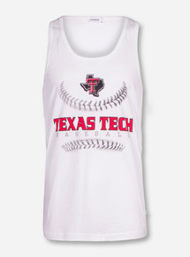 Texas Tech Baseball Laces on White Tank Top