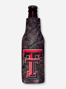 Texas Tech Double T on Camo Bottle Koozie