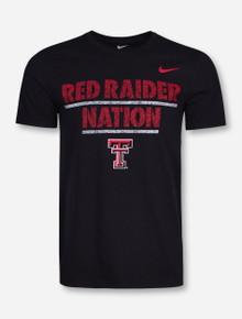Nike Texas Tech Red Raider Nation Press Print on Black T-Shirt