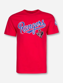 Champion MLB Texas Rangers and Texas Tech Lone Star Pride on Red T-Shirt