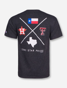 Champion MLB Houston Astros and Texas Tech Criss Cross on Heather Charcoal T-Shirt