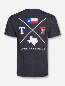 Champion MLB Texas Rangers and Texas Tech Criss Cross on Heather Charcoal T-Shirt