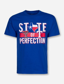 "Champion MLB ""State of Perfection"" Texas Rangers and Texas Tech on Royal Blue T-Shirt"