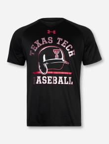 "Under Armour Texas Tech ""Batting Helmet"" on Black T-Shirt"
