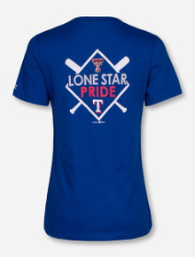 Champion MLB Texas Rangers and Texas Tech Diamond on Royal Blue V-Neck T-Shirt