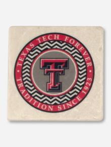 Texas Tech Chevron Circle Double T Marble Coaster