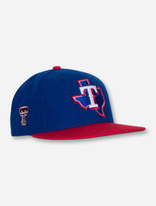 New Era MLB Texas Rangers and Texas Tech on Red and Royal Blue Fitted Cap