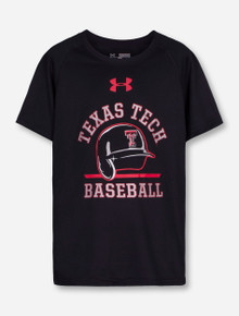 "Under Armour Texas Tech ""Batting Helmet"" on YOUTH Black T-Shirt"