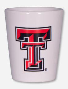 Texas Tech Double T on White Shot Glass
