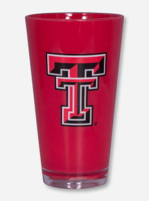 Texas Tech Double T on Red Plastic Glass