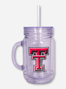 Texas Tech Double T on Lidded Mug with Straw