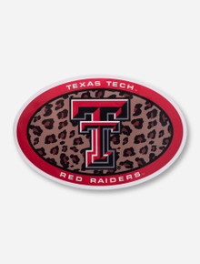 Texas Tech Double T in Leapord Print Oval Decal