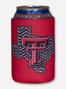 Texas Tech Black and White Chevron Lone Star Pride on Red Koozie