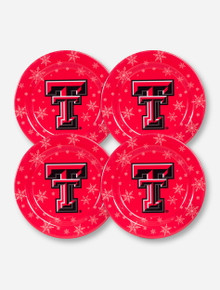 Set of 4 Texas Tech Double T with Snowflakes on Red Plates