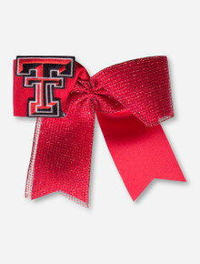 Texas Tech Double T Oversized Red Bow with Glitter Fabric