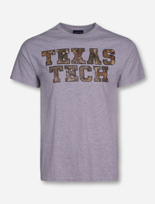 Texas Tech Camo Stack on Heather Grey T-Shirt