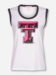 "Texas Tech ""Annabel"" Full Color Double T on Cream Burnout Tank Top"