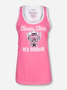 "Pressbox Texas Tech ""Fresno"" Pink and White Tank Top"