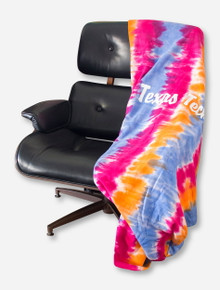 MV Sport Texas Tech Script on Tricolor Tie Dyed Sweatshirt Blanket