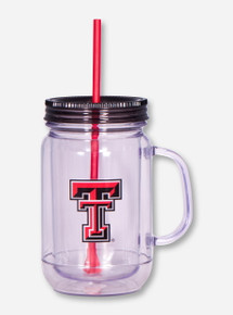 Texas Tech Double T on Mason Jar Mug with Straw