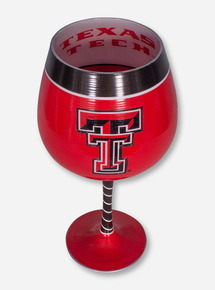 Texas Tech All-Over Hand Painted Double T Wine Glass