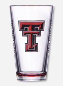 Texas Tech & Double T on Red and Clear Pint Glass