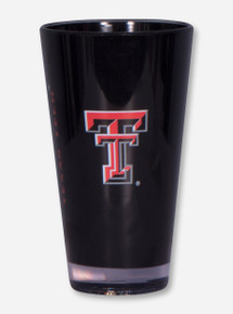 Double T & Texas Tech on Black Plastic Glass