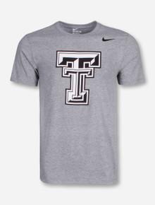 Nike Texas Tech Black & White Double T on Heather Grey T-Shirt