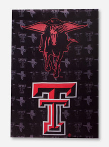 "Glitter Masked Rider & Double T on Black Suede 29"" x 43"" Flag"