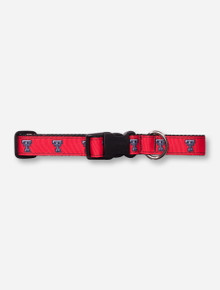 Texas Tech Double T on Red Dog Collar
