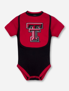 Arena Texas Tech Red Raiders INFANT Onesie with Double T Red Bib Set