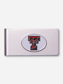 Texas Tech Double T White Emblem on Brushed Metal Money Clip