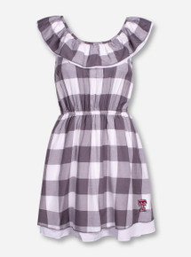 "Texas Tech ""Antero"" Gingham Off Shoulder Ruffle Dress"